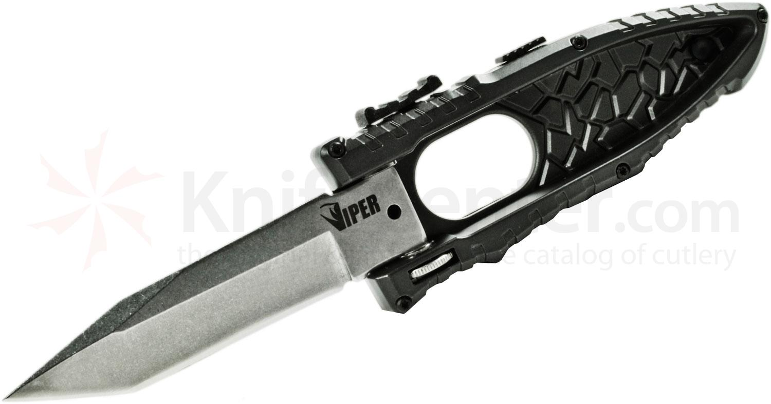 Schrade Extreme Survival Viper Side Opening Assist 3.2 inch Plain Satin Tanto Blade, Black Aluminum Handle
