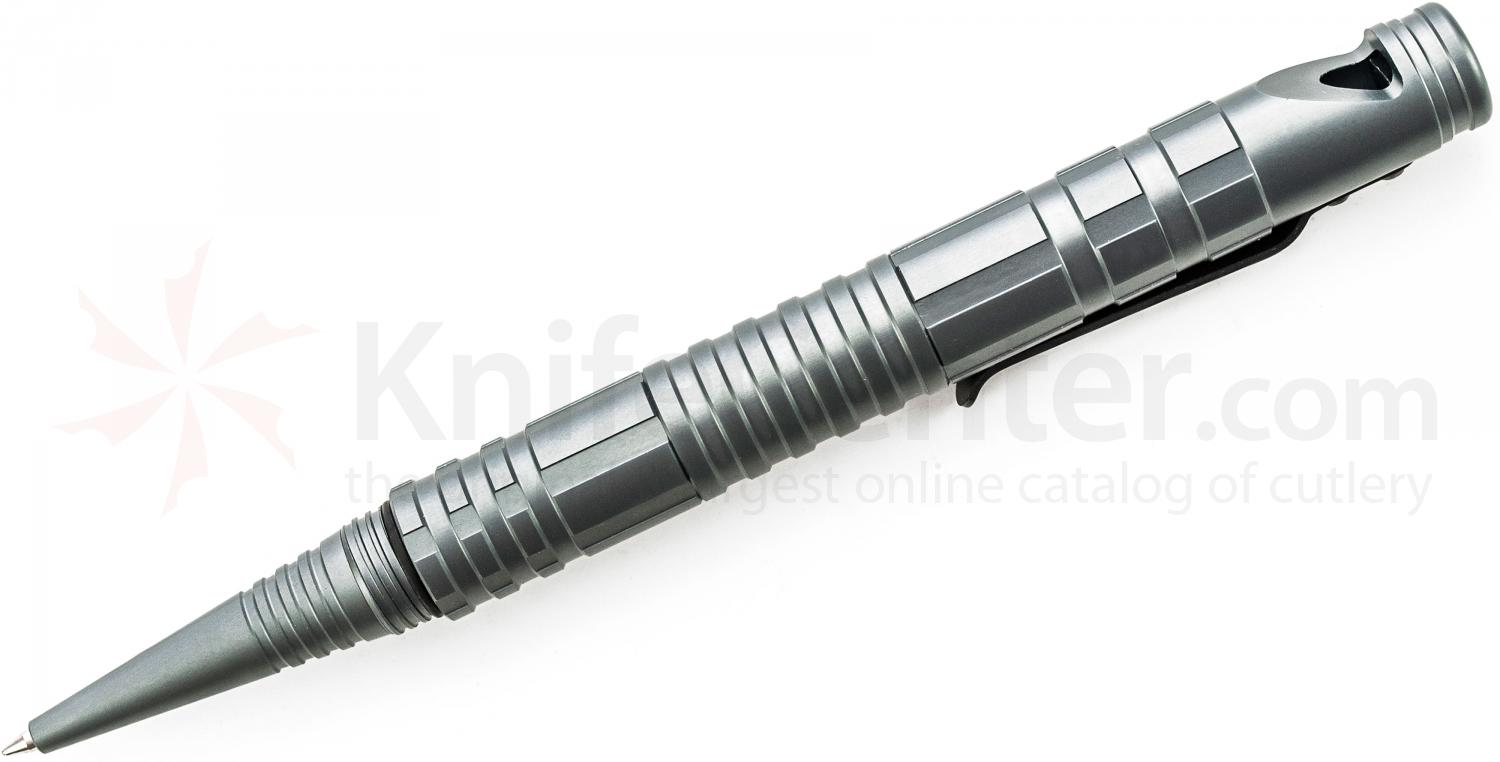 Schrade (Gray) Aluminum Tactical Survival Pen with Fire Steel, Striker & Whistle