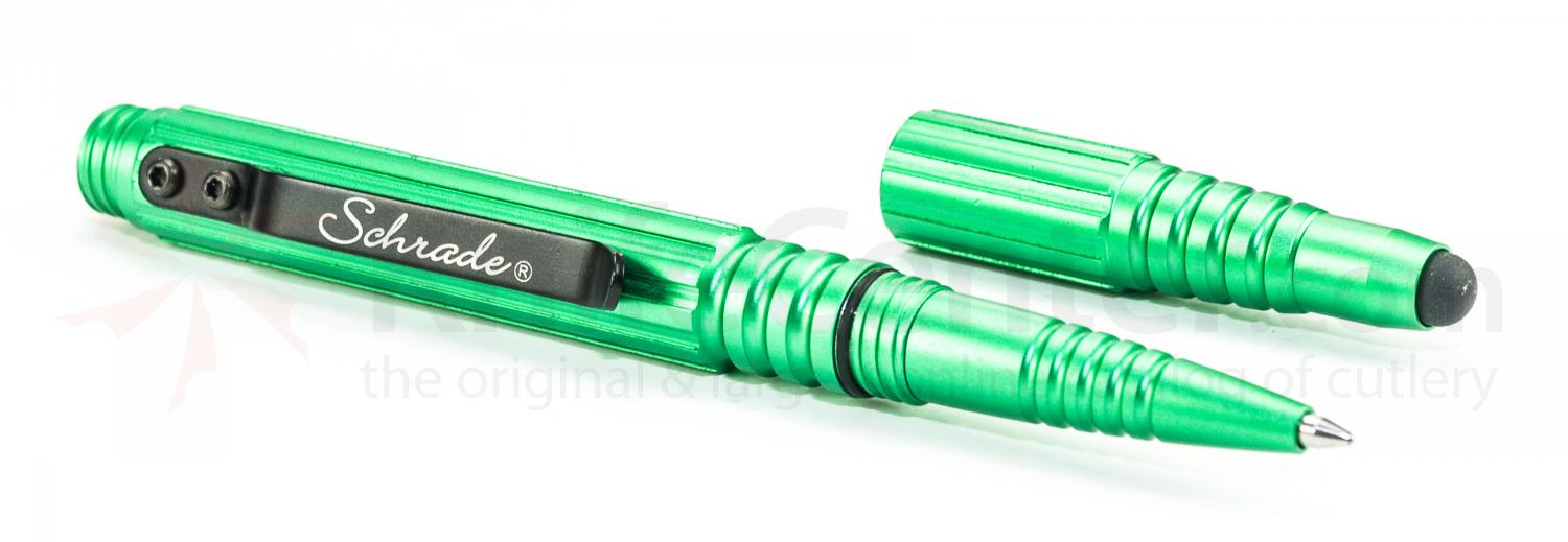 Schrade Tactical Pen and Stylus, Green Aluminum Body
