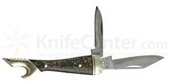 Schrade Lady Shoe 3 inch Black/Blue/Gold Sparkle Handle 2 Blades w/Bottle