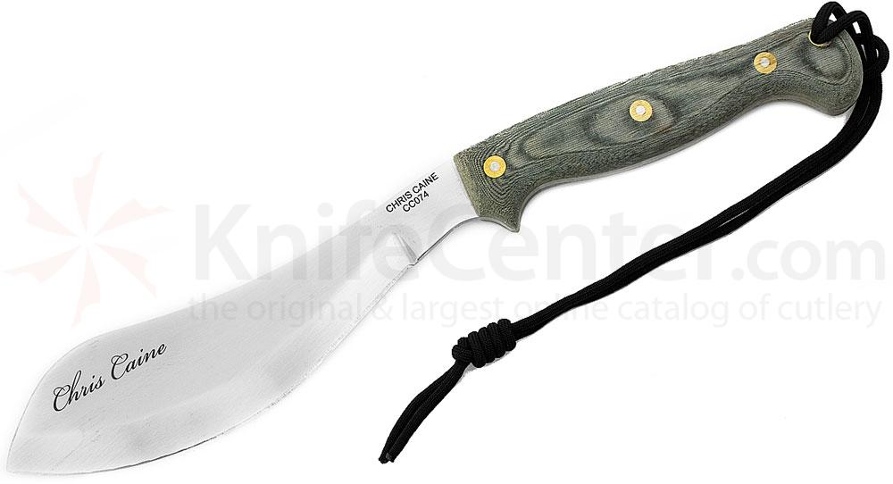 Scorpion Knives Chris Caine Companion Survival Tool, 8 inch Satin Parang Style Blade, Canvas Micarta Handle