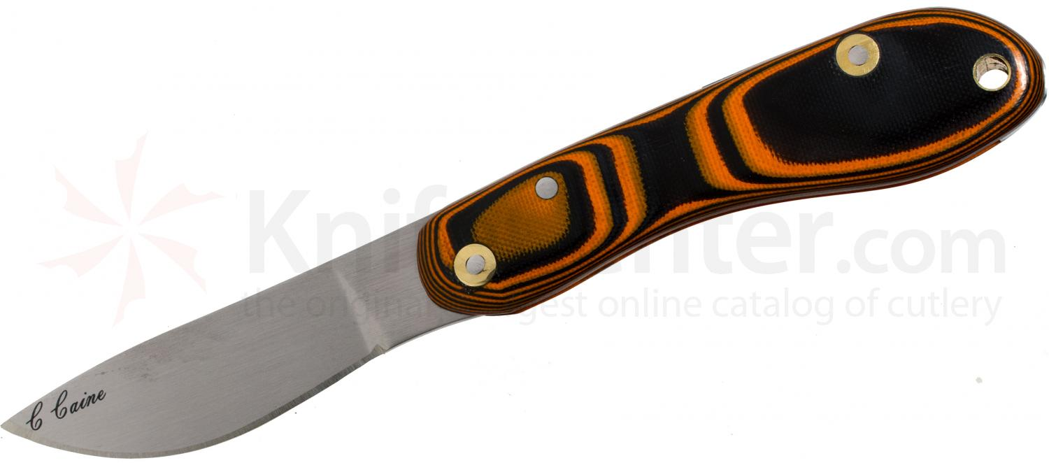 Scorpion Knives Chris Caine Folding 2.91 inch Plain Satin Blade, Polished Tiger Stripe Micarta Handle