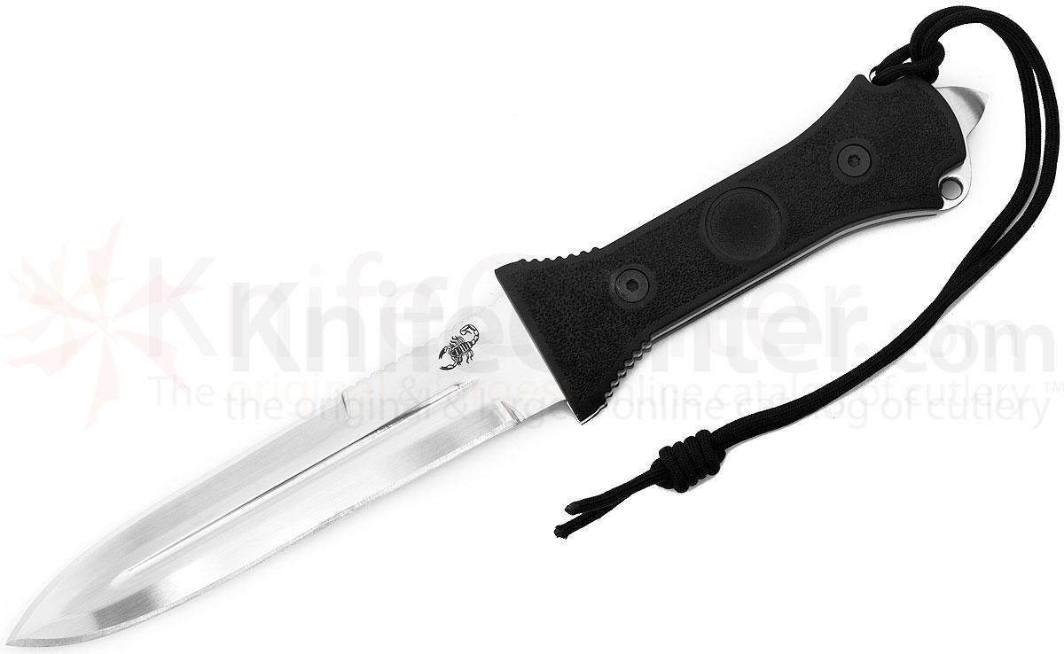 Scorpion Knives Dagger Fighting Knife, 7 inch Mirror Polished Plain Double Edge Blade, Cordura Sheath
