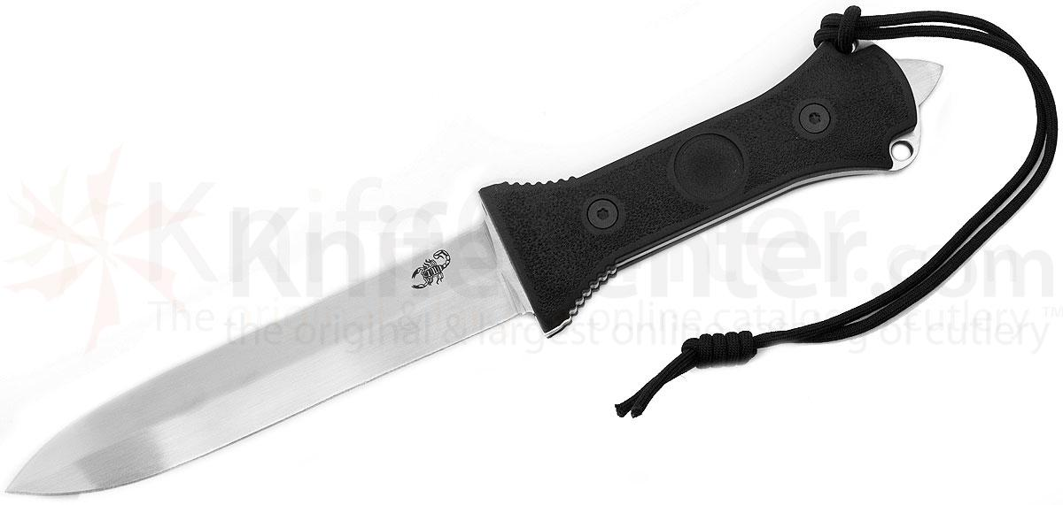 Scorpion Knives Dagger Fighting Knife Diamond Grind, 7 inch Mirror Polished Plain Double Edge Blade, Cordura Sheath