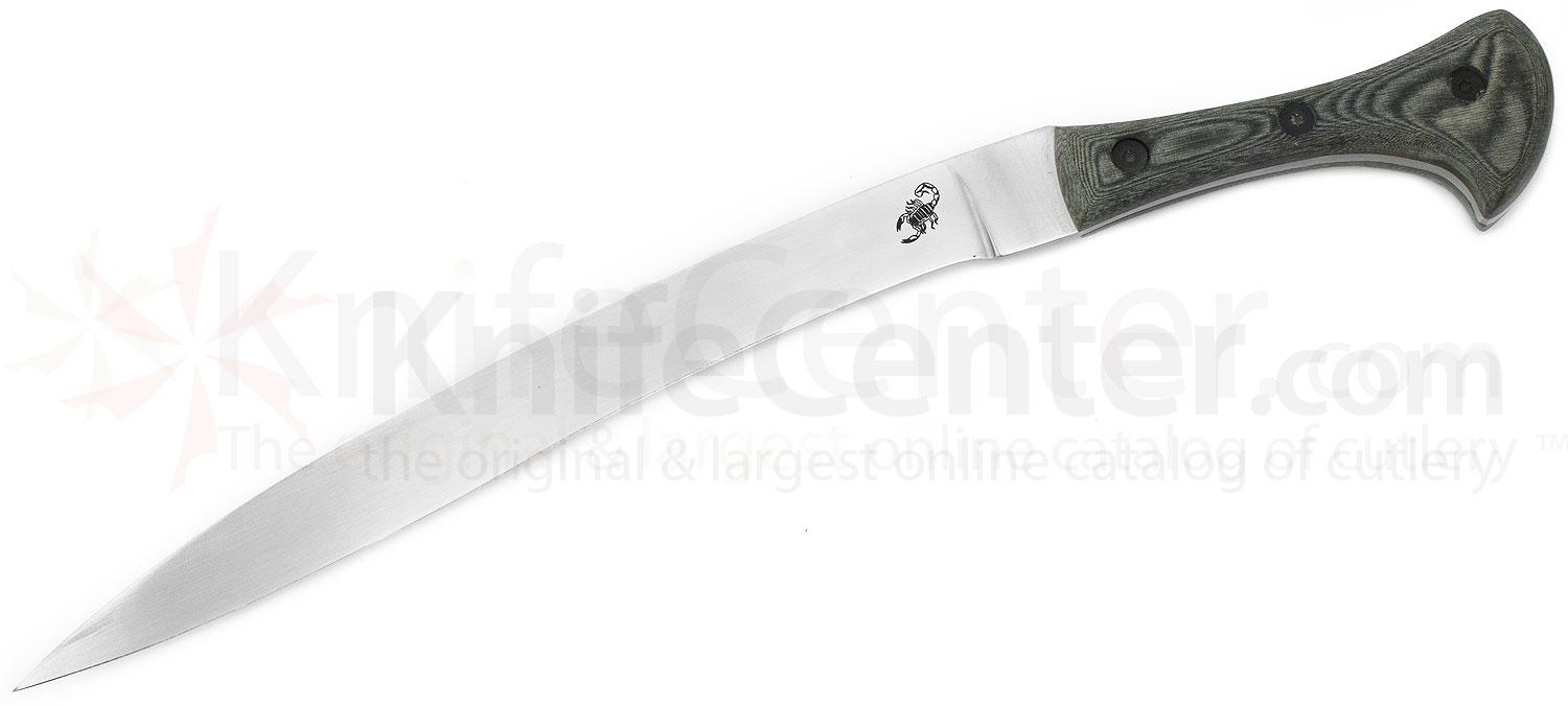 Scorpion Knives Yatagan, 12 inch Satin Curved Blade, Linen Micarta Handle with Leather Sheath