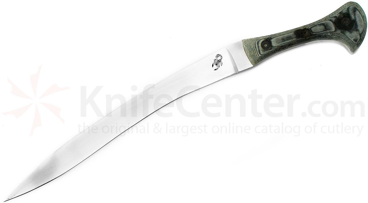 Scorpion Knives Yatagan, 10 inch Satin Curved Blade, Linen Micarta Handle with Leather Sheath