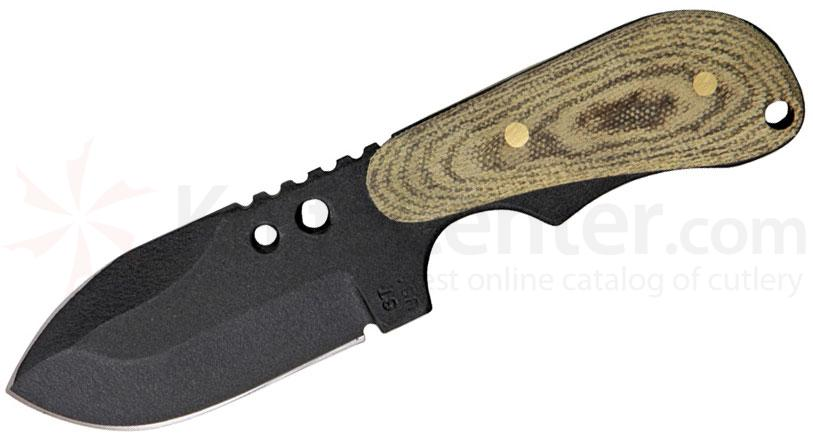 Shadow Tech Backup XL Spear Point Fixed 3.5 inch Double Edge Black 1095 Blade, Micarta Handle, Kydex Sheath