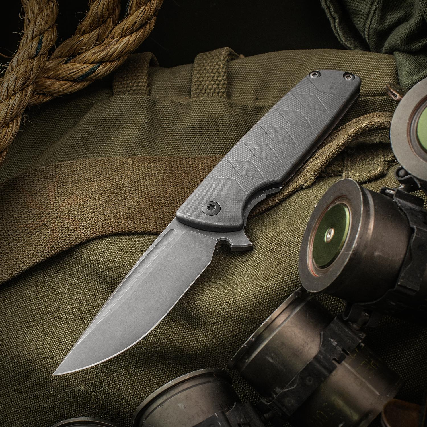 SharpByDesign Custom Mini Typhoon Flipper 3.5 inch CPM-S90V Drop Point Blade, 3D Machined Titanium Handles with Katana Pattern