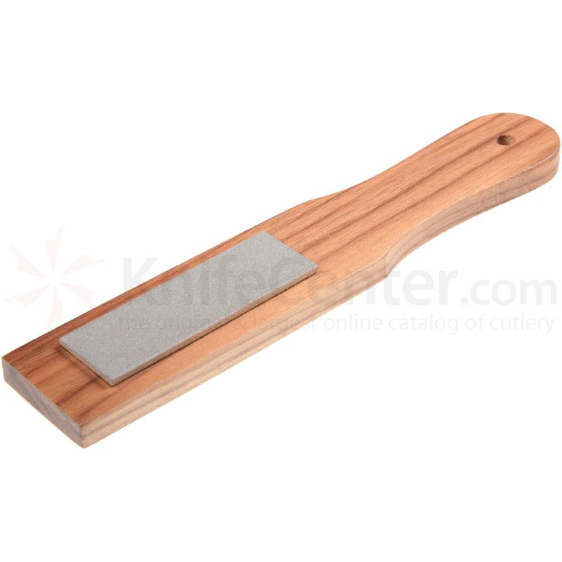 EZE-LAP Coarse Stone on a Walnut Paddle. No Groove - 1 inch x 3 inch Diamond Stone