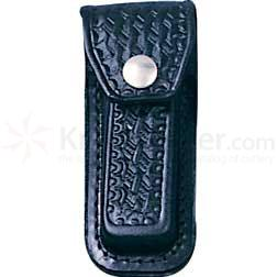 Basketweave Leather Sheath (Black) Fits 3-1/2 inch to 4 inch Folders