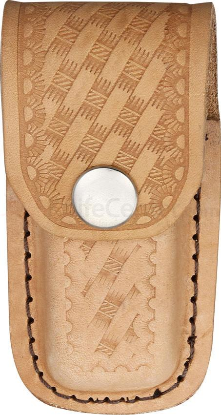 Basketweave Leather Sheath (Natural) Fits 3 inch to 3-1/2 inch Folders