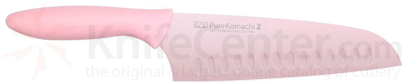 KAI Pure Komachi 2 Series (Pink) 6-1/2 inch Hollow Ground Santoku Knife (AB5064)