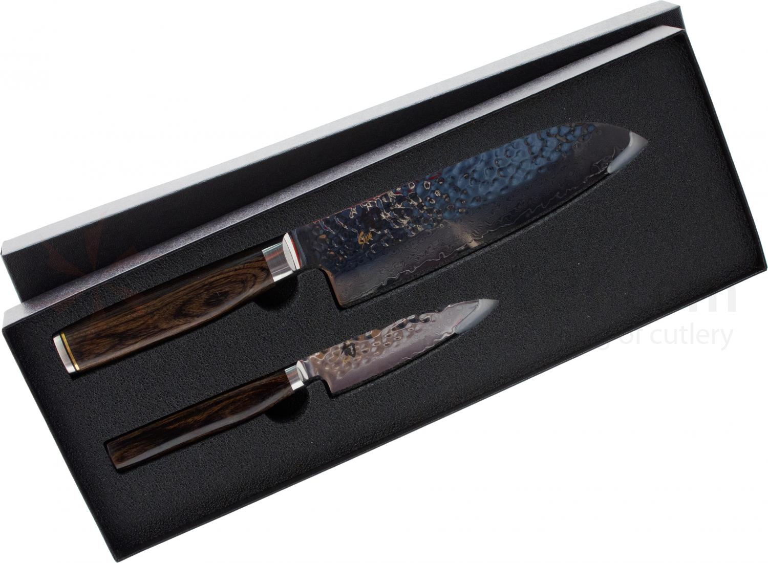 Shun TDMS284 Premier 2 Piece Try Me Set, 7 inch Santoku and 4 inch Limited Edition Paring Knives