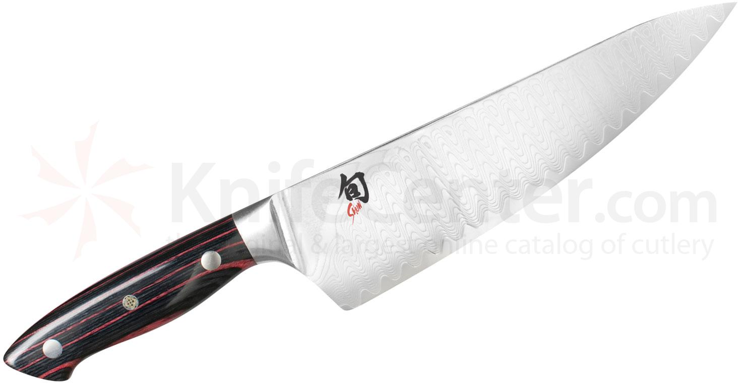 Shun ND0706 Reserve Chef's Knife 8 inch Damascus SG2 Blade, PakkaWood Handles