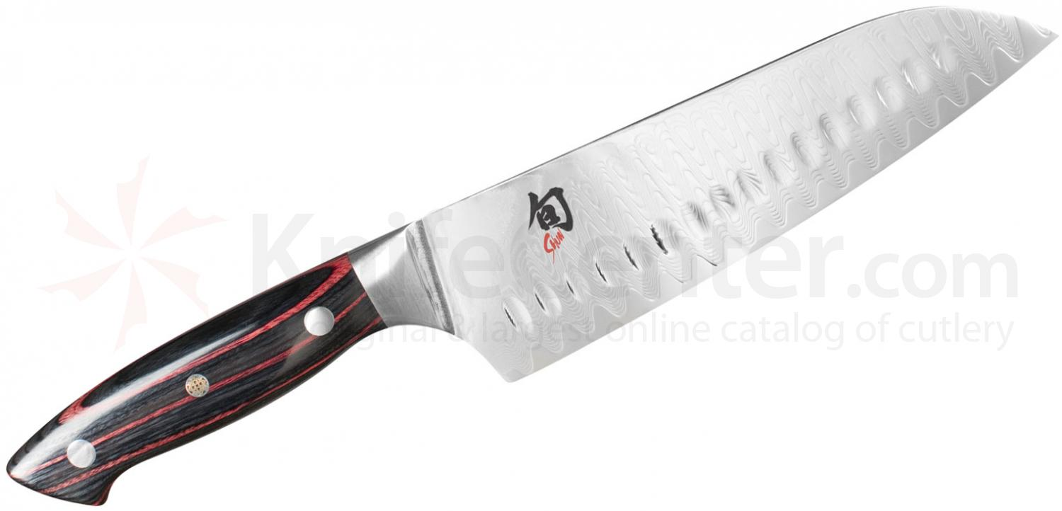 Shun ND0718 Reserve Santoku Knife 7 inch Damascus SG2 Hollow Ground Blade, PakkaWood Handles