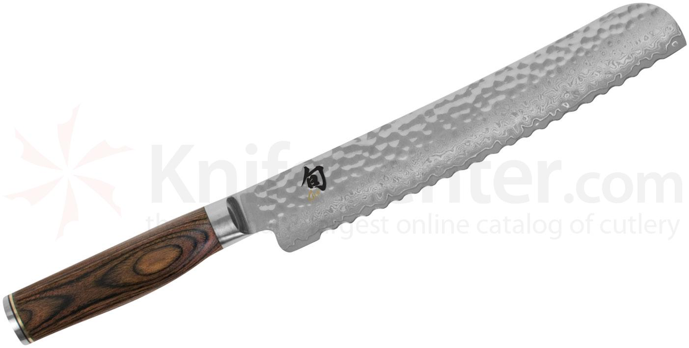 Shun TDM0705 Premier Bread Knife 9 inch Hammered Blade, PakkaWood Handle