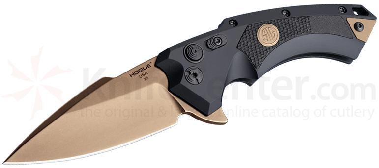 SIG Sauer by Hogue Elishewitz X5 SIG Emperor Scorpion Flipper 3.5 inch 154CM FDE Plain Spear Point Blade, Black Aluminum Handles with G10 Inserts