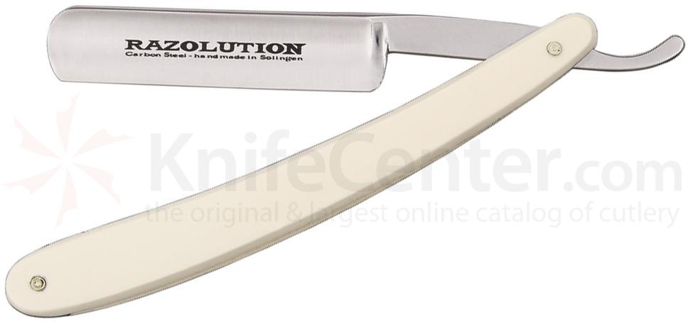 Simba Tec RAZOLUTION Straight Razor, 5/8 inch Carbon Steel, White Synthetic Handle