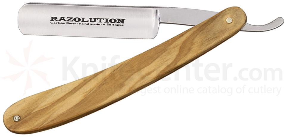 Simba Tec RAZOLUTION Straight Razor, 5/8 inch Carbon Steel, Olive Wood Handle