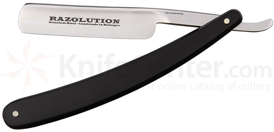 Simba Tec RAZOLUTION Straight Razor, 5/8 inch Stainless Steel, Black Synthetic Handle