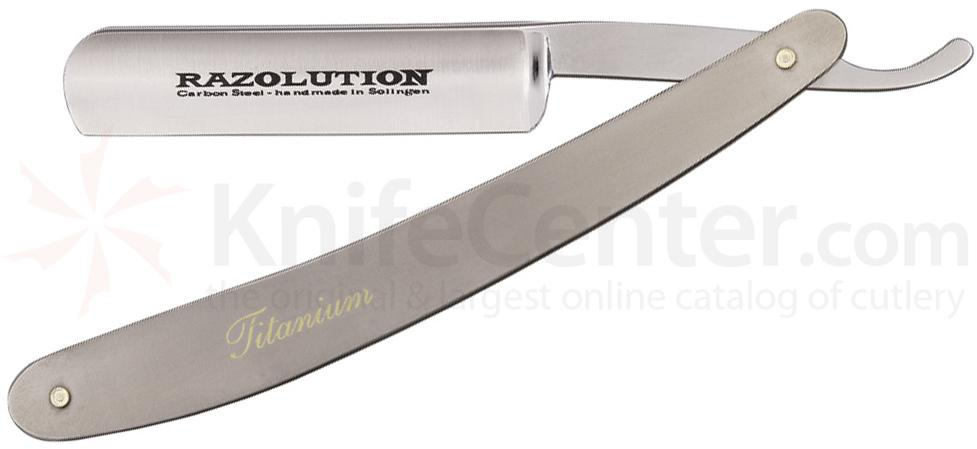 Simba Tec RAZOLUTION Straight Razor, 5/8 inch Carbon Steel, Titanium Handle