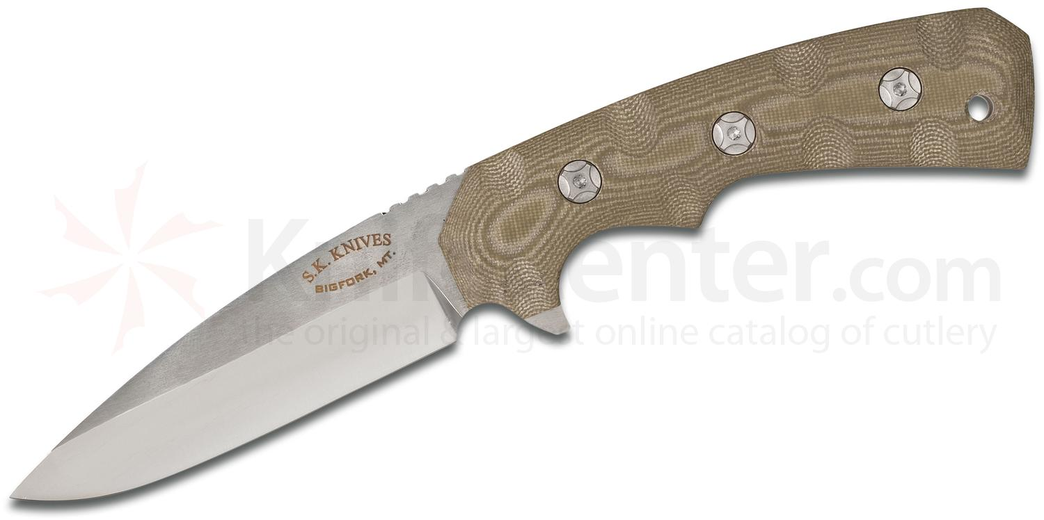 SK Knives Steven Kelly Custom C-4 Fighter Fixed 3.5 inch CPM-154 Satin Blade, OD Green G10 Handles, Kydex Sheath