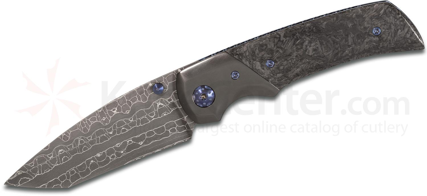 SK Knives Custom Gulo Folding Knife 3.375 inch Nichols Reptilian Damascus Tanto Blade, Marbled Carbon Fiber Handles with Zirconium Bolsters and Clip