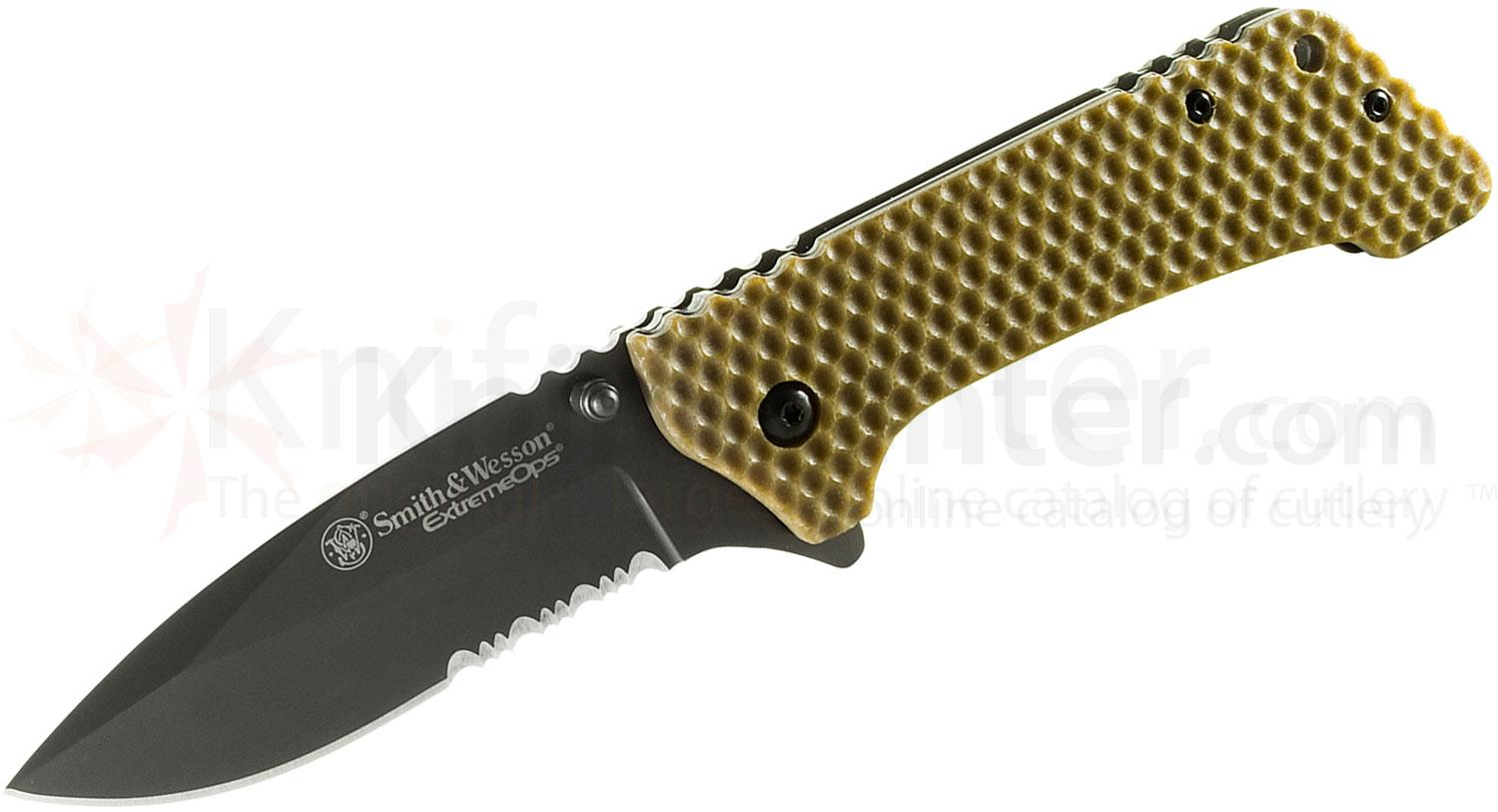 Smith & Wesson Extreme Ops Small Tactical Folding 3.2 inch Black Combo Blade, Brown G10 Handle