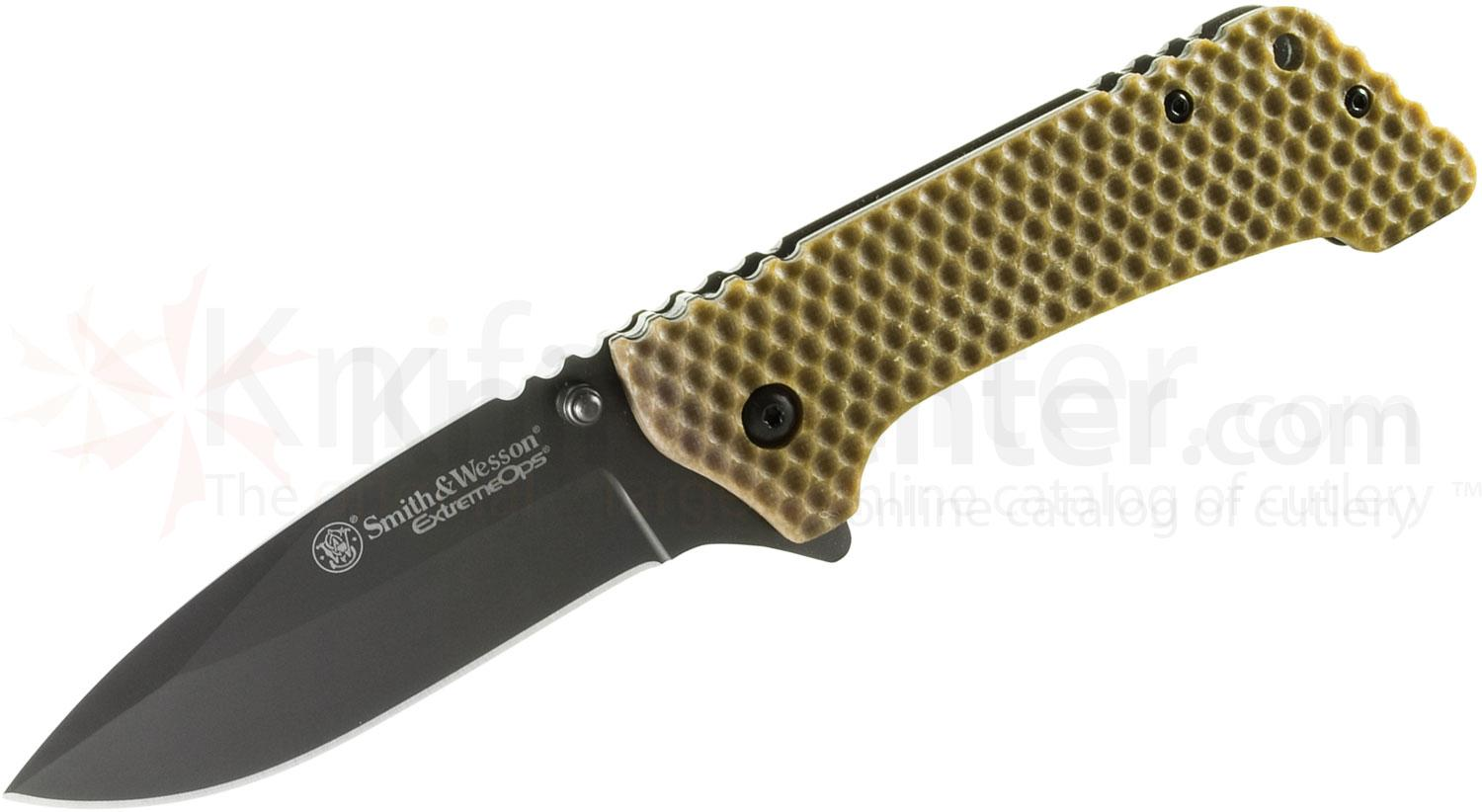 Smith & Wesson Extreme Ops Large Tactical Folding 3.9 inch Black Plain Blade, Brown G10 Handle