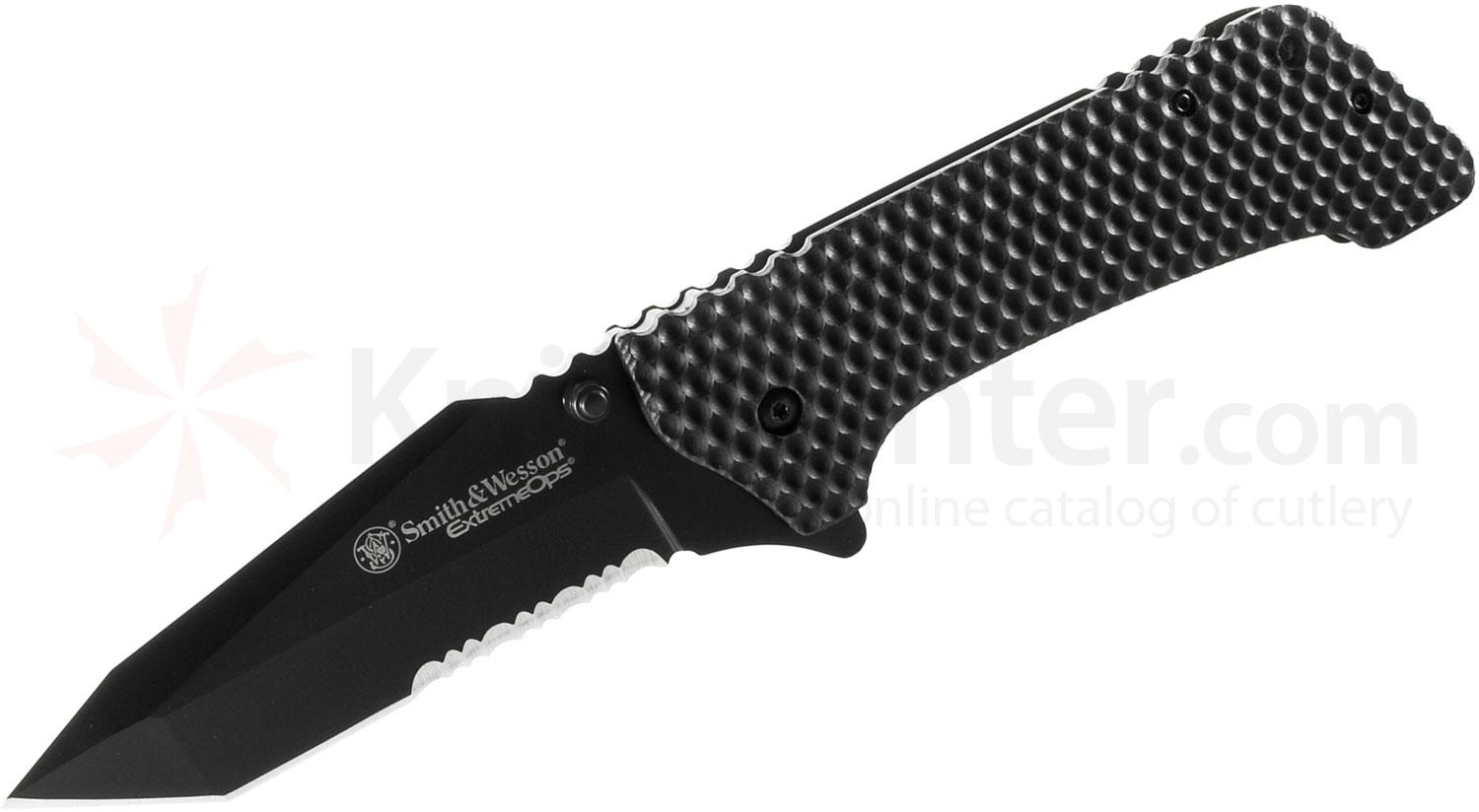 Smith & Wesson Extreme Ops Large Tactical Folding 3.9 inch Black Combo Tanto Blade, Black G10 Handle