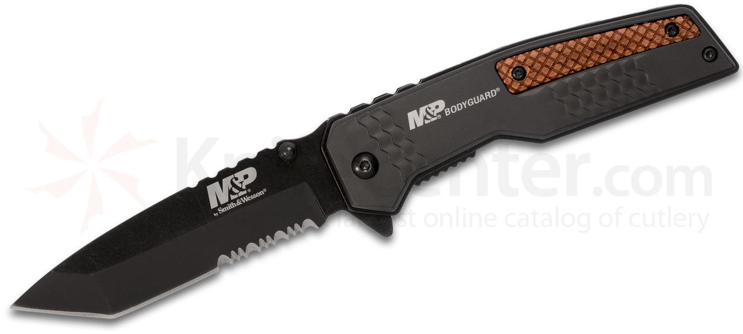 Smith & Wesson M&P Bodyguard Flipper Knife 3.625 inch Black Combo Tanto Blade, Black Aluminum Handles with Wood Inserts