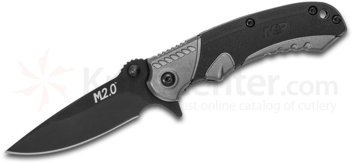Smith & Wesson M2.0 M&P Ultra Glide Flipper Knife 2.75 inch Black Plain Drop Point Blade, Gray Aluminum Handles with Rubber Inserts