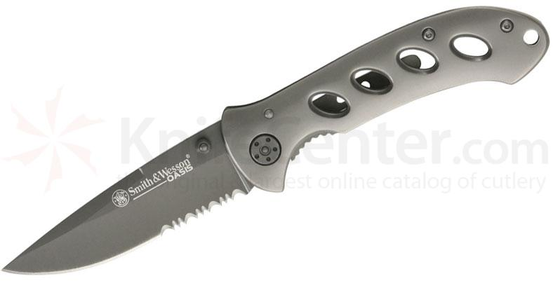 Smith & Wesson Oasis Gray Linerlock Folder 3.2 inch Combo Edge Blade