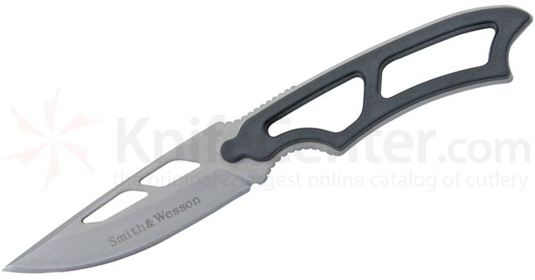 Smith & Wesson Neck Knife 3 inch Bead Blast Drop Point Blade, Zytel Onlays, Kydex Sheath