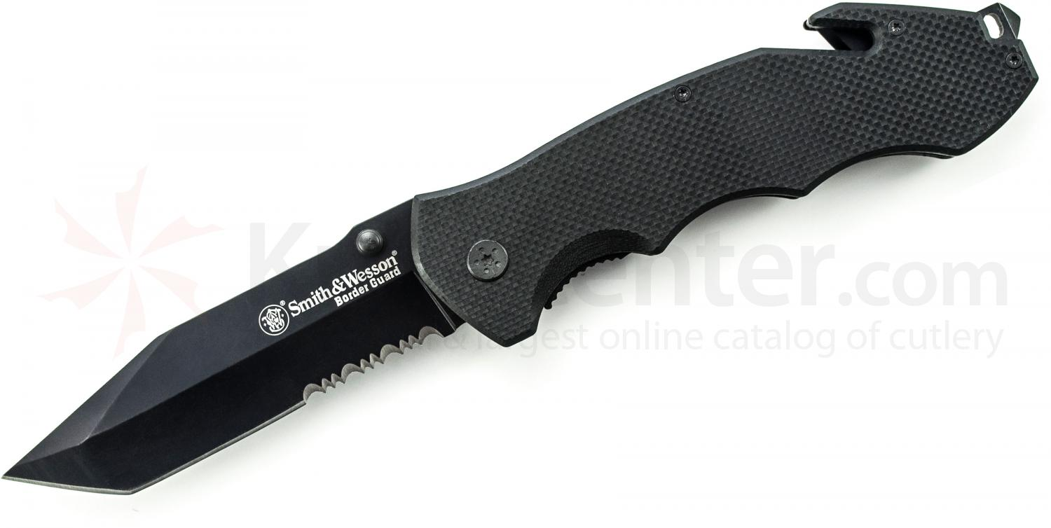 Smith & Wesson Border Guard BG6TS Folding 4.3 inch Black Tanto Combo Blade, G10 Handles