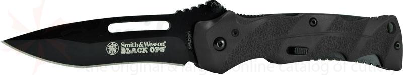 Smith & Wesson Black Ops 3.4 inch Assisted Plain Blade, Black Handles