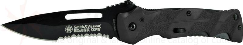 Smith & Wesson Black Ops 3.4 inch Assisted Combo Blade, Black Handles