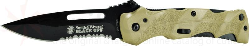 Smith & Wesson Black Ops 3.4 inch Assisted Combo Blade, Desert Handles