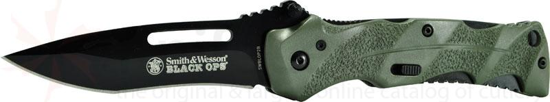 Smith & Wesson Black Ops 3.4 inch Assisted Plain Blade, Green Handles