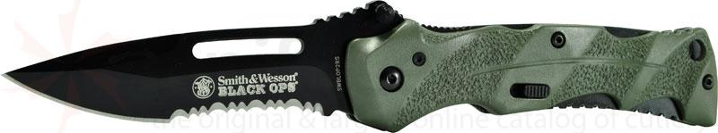 Smith & Wesson Black Ops 3.4 inch Assisted Combo Blade, Green Handles