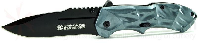 Smith & Wesson 3rd Gen Black Ops MAGIC Assisted 3.4 inch Plain Drop Point Blade, Blue Handles