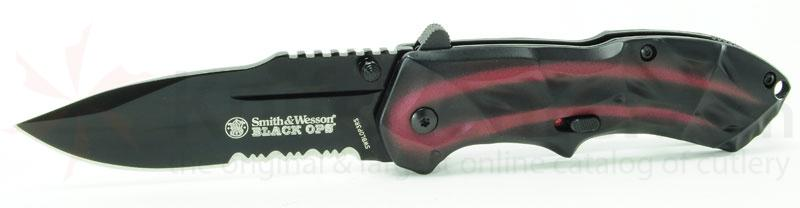 Smith & Wesson 3rd Gen Black Ops MAGIC Assisted 3.4 inch Combo Drop Point Blade, Red Handles