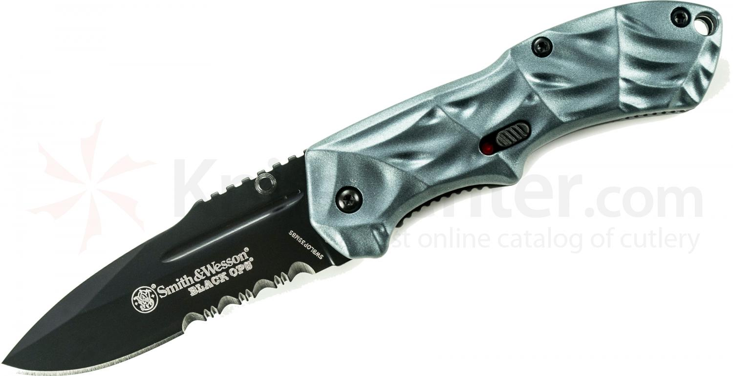 Smith & Wesson 3rd Gen Black Ops MAGIC Small Assisted 2.5 inch Combo Blade, Blue Aluminum Handles
