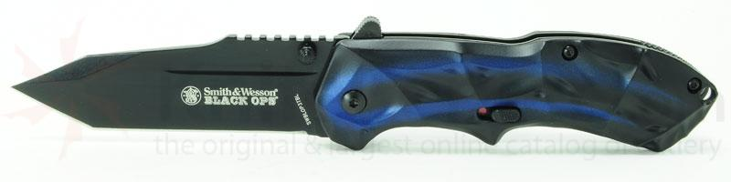 Smith & Wesson 3rd Gen Black Ops MAGIC Assisted 3.4 inch Plain Tanto Blade, Blue Handles