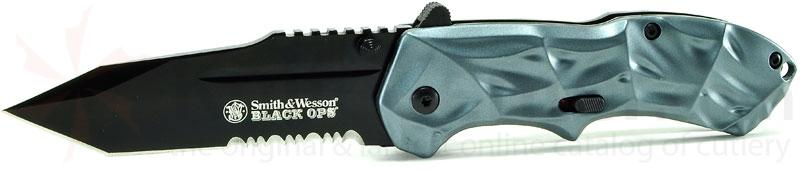 Smith & Wesson 3rd Gen Black Ops MAGIC Assisted 3.4 inch Combo Tanto Blade, Blue Handles