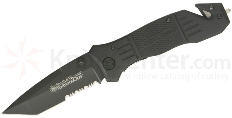 Smith & Wesson Extreme Ops First Response Rescue Knife 3.5 inch Tanto Black Combo Blade