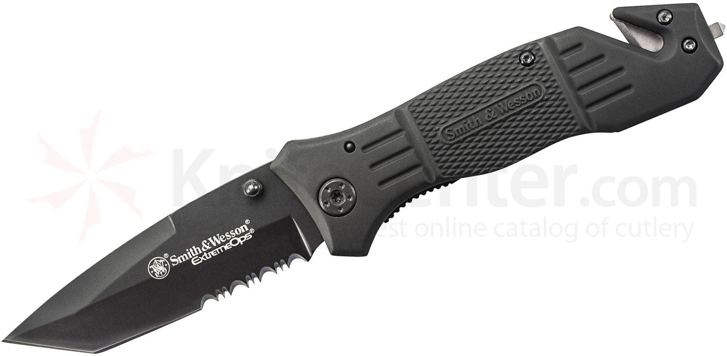 Smith & Wesson Extreme Ops First Response Rescue Folding Knife 3.3 inch Black Tanto Combo Blade, Rubber Coated Aluminum Handles