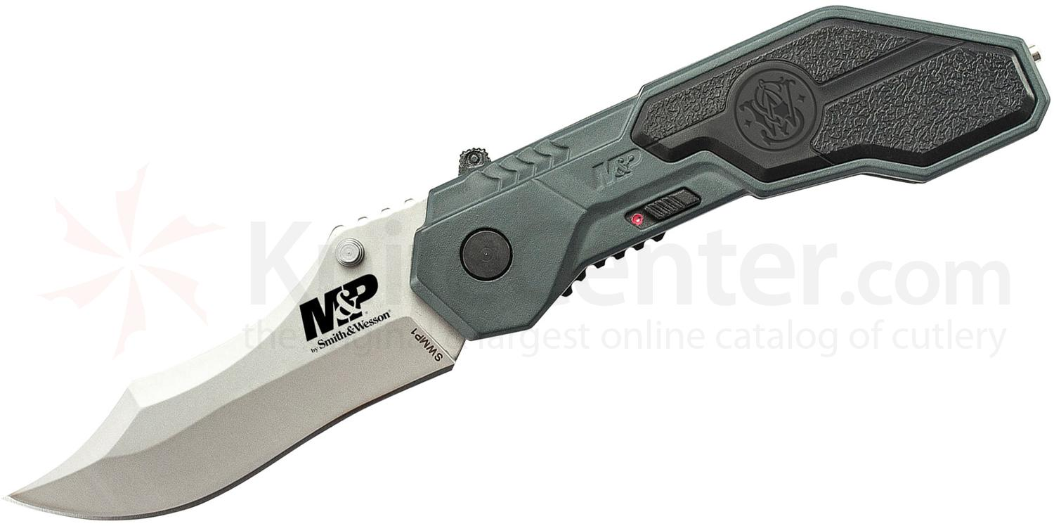 Smith & Wesson SWMP1 M&P MAGIC Assisted Flipper 2.9 inch Bead Blast Plain Blade, Gray Aluminum Handles with Rubber Inlays