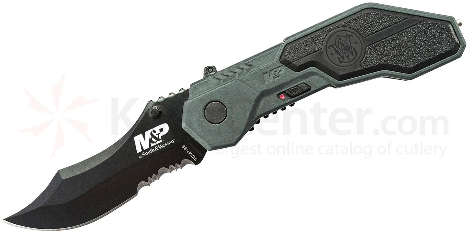Smith & Wesson SWMP1BS M&P MAGIC Assisted Flipper 2.9 inch Black Combo Blade, Gray Aluminum Handles with Rubber Inlays