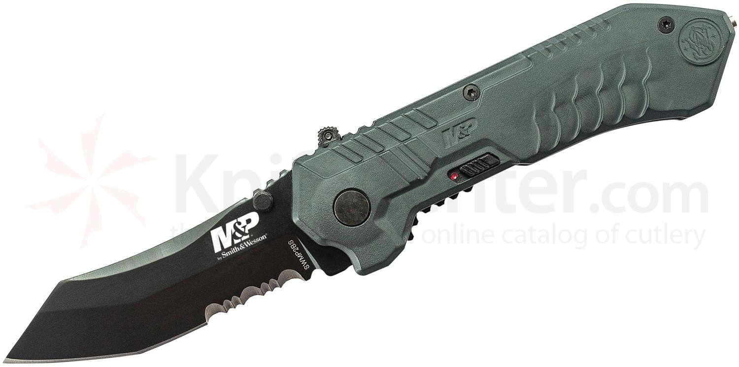 Smith & Wesson SWMP2BS M&P MAGIC Assisted Flipper 2.9 inch Black Combo Tanto Blade, Gray Aluminum Handles